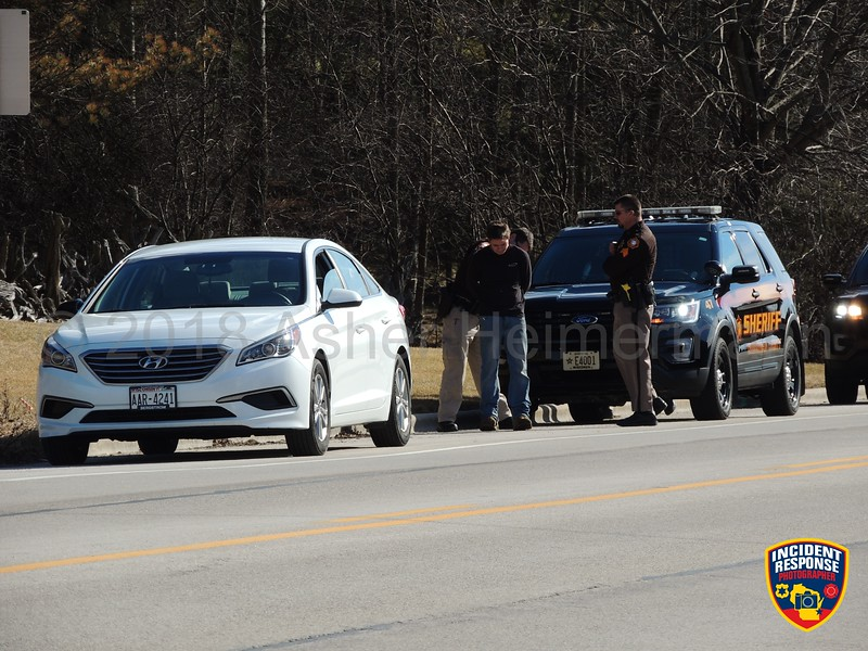 Sheboygan County sheriff deputies conduct a traffic stop on County Road Y near Grote Road in the Town of Sheboygan, Wisconsin on Friday, March 2, 2018. Photo by Asher Heimermann/Incident Response.