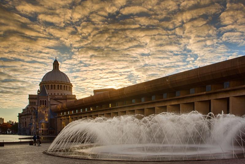 Boston Christian Science Center Park Sunset Fountain