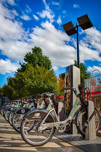 Hubway bikes in Somerville MA on an early fall day