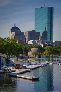 Spring in Boston's Back Bay from the Charles River