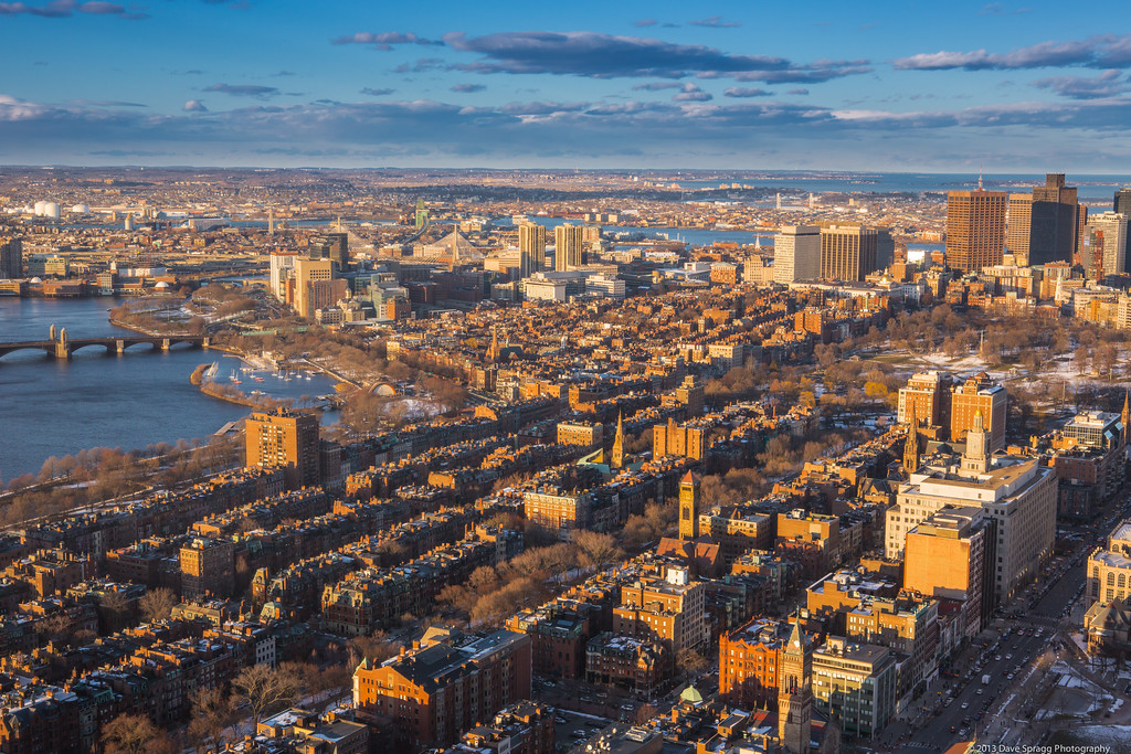 Boston's Back Bay bathed in warm light of a winter sunset