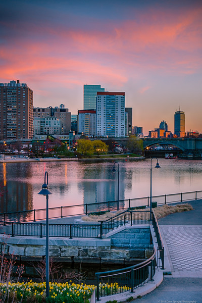 Sunset over Boston from East Cambridge North Point Park