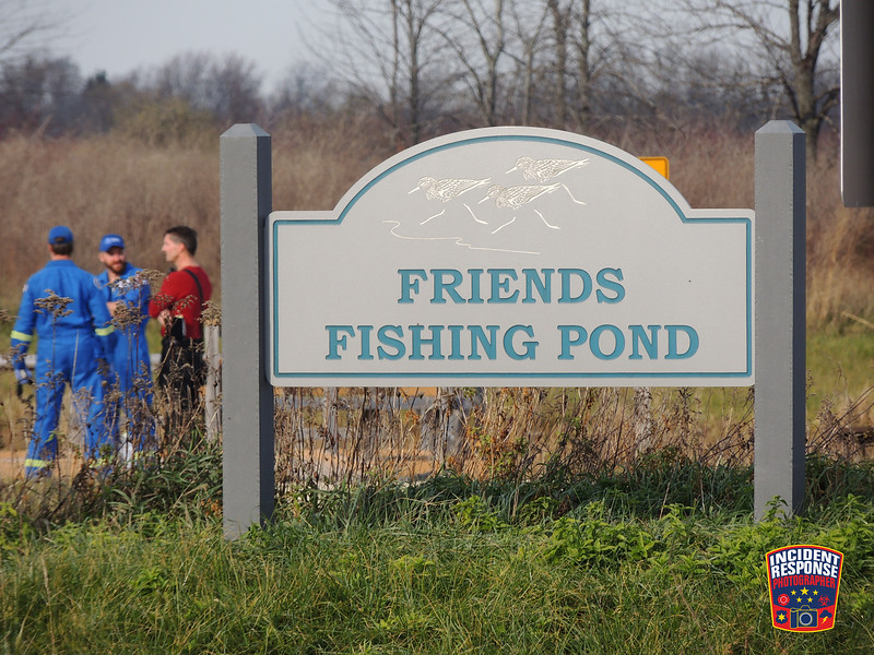 Authorities are investigating the death of a man pulled from a pond near the Kohler-Andrae State Park in the Town of Wilson, Wisconsin on Monday, November 14, 2016. Photo by Asher Heimermann/Incident Response.