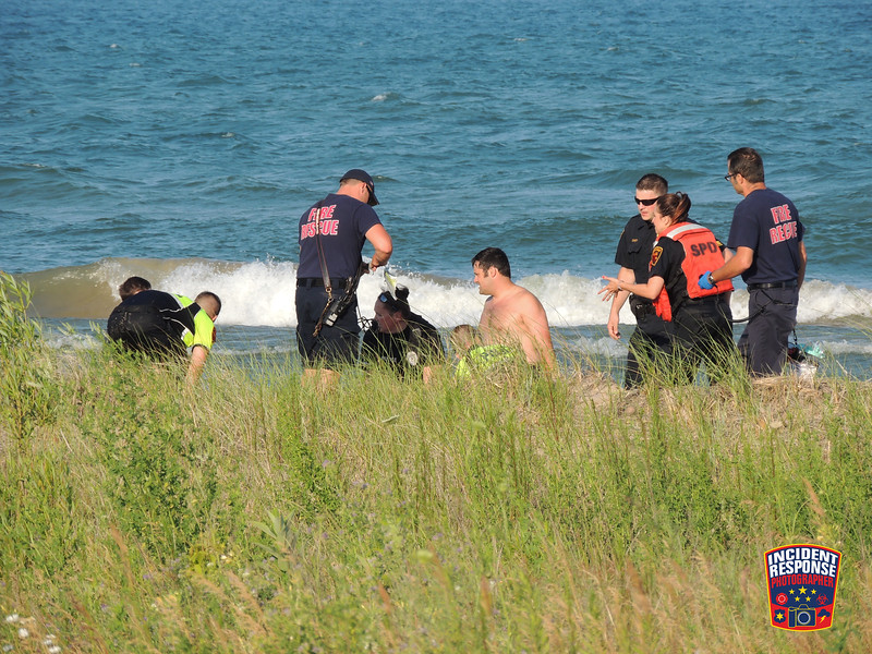 A 14-year-old boy was taken to the hospital after he was pulled from Lake Michigan near King Park in Sheboygan, Wisconsin on Monday, July 11, 2016. Photo by Asher Heimermann/Incident Response.