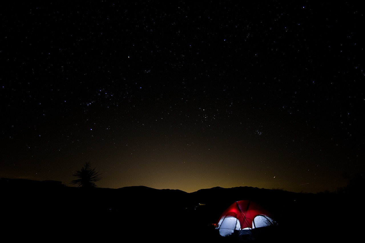 Midnight at Cottonwood Campground.