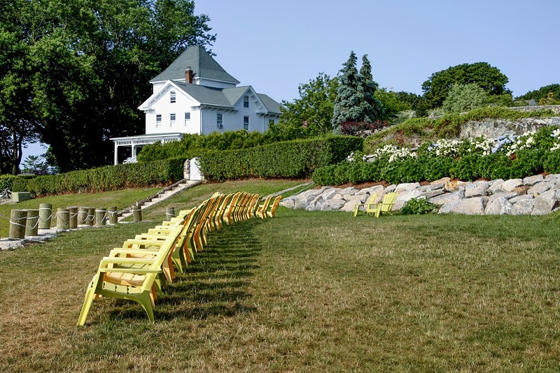 Noank, CT row of chairs by the sea (c)2014