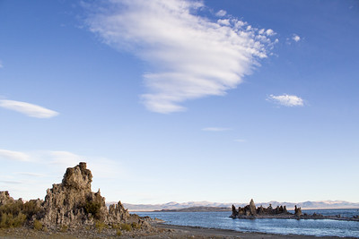 Sparse clouds in the sky at South Tufa.