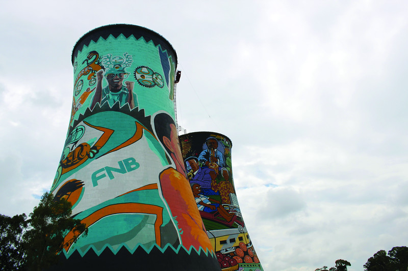 Soweto cooling tower with World Cup graffiti (c) 2011