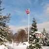 Campus flag with snow (c)2014