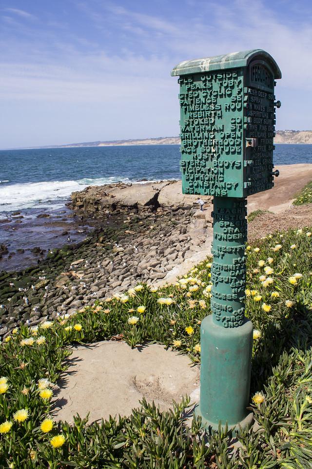 A poem on a lifeguard box at Boomer Beach.