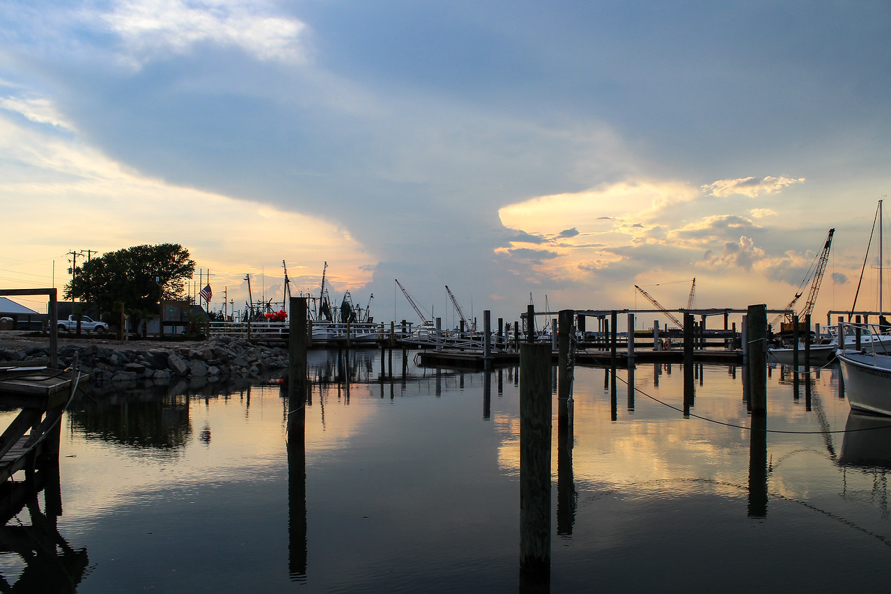 Sunset from the dock of Discovery Diving Company.