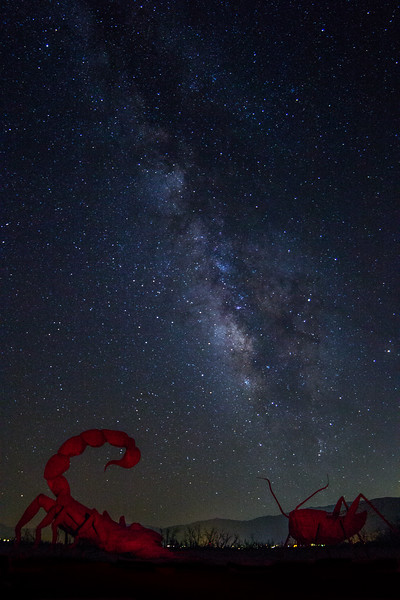 Red painted scorpion and cricket under the Milky Way.