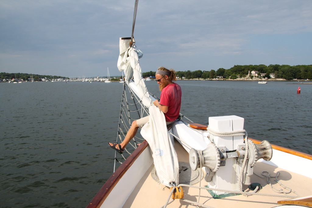 Furling the jib, Mystic River (c) 2014