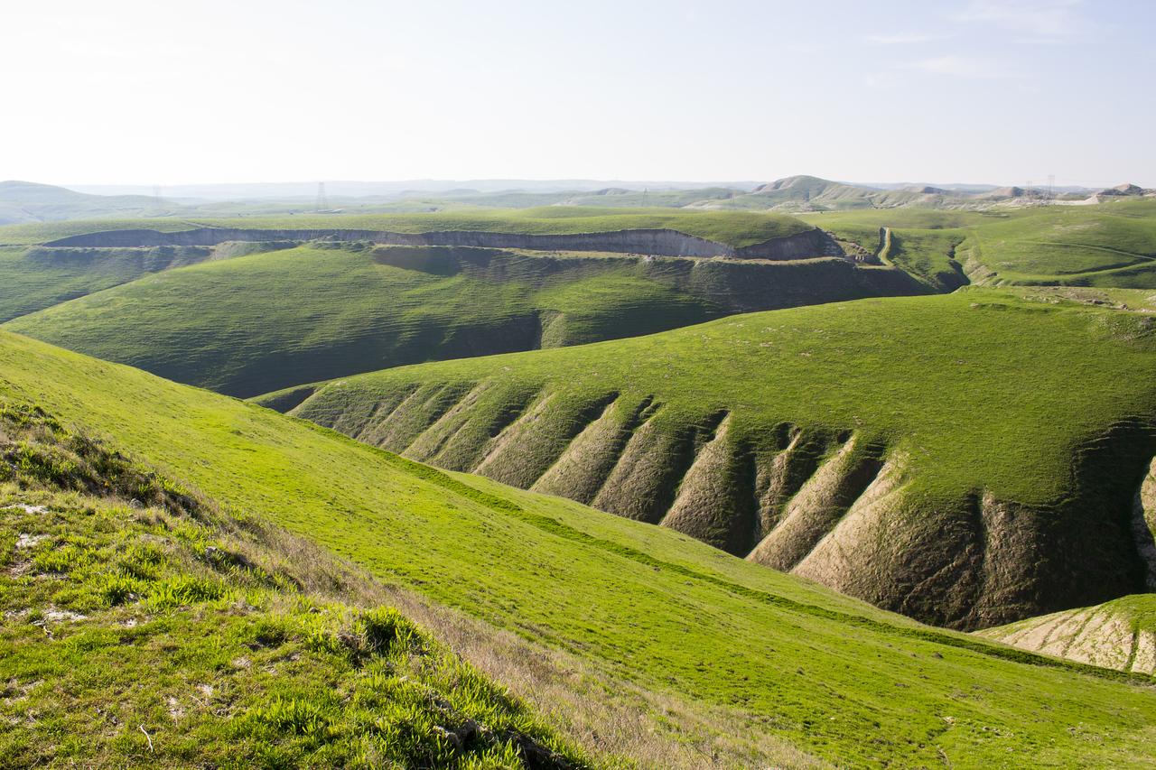 Green hills at Ernst Quarries after winter rains.