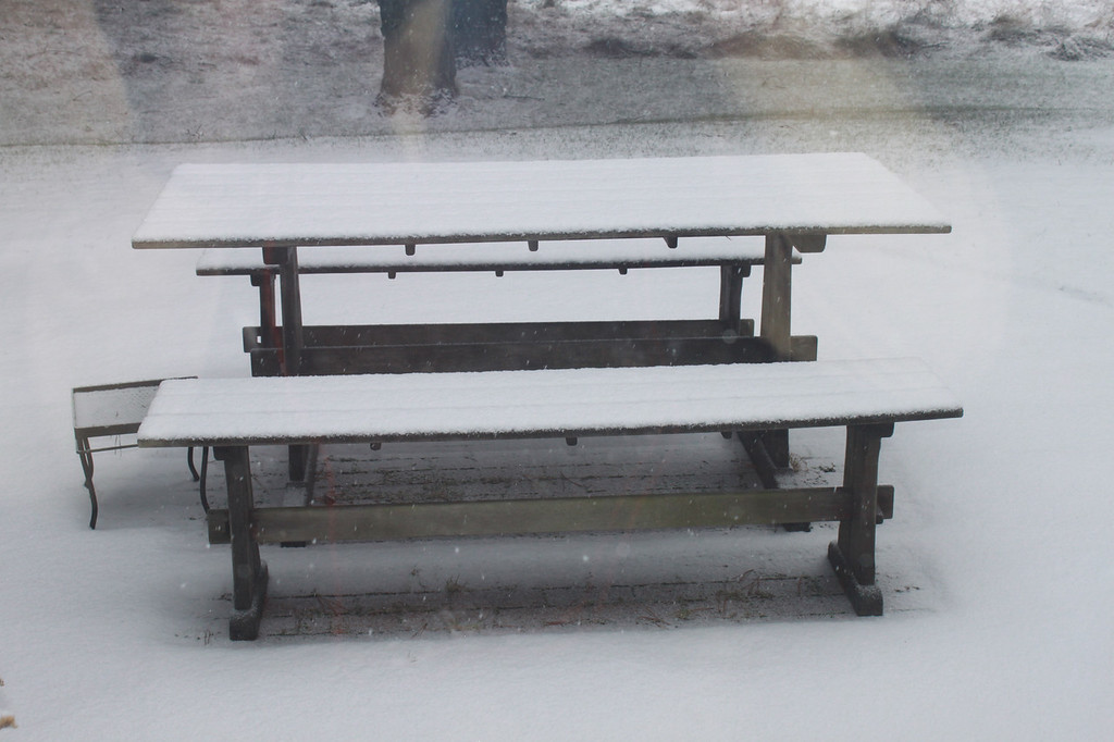 Picnec table with snow, East Hampton (c) 2010