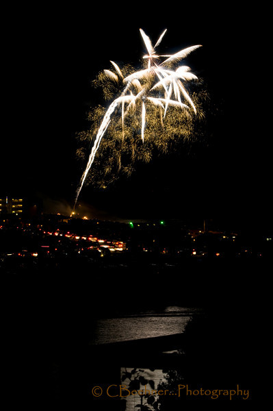 Its All Over...<br /> <br /> A pulled back view, reflections on the Chetco, cars leaving the scene...<br /> <br /> Fireworks are posted in gallery from last to first...last posted first scene...a little backwards I know.
