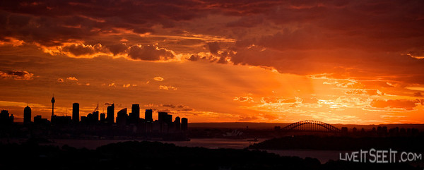 Sunsets on the city at the end of Summer in Sydney, Australia