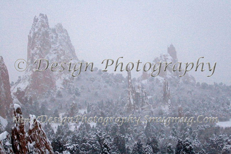Garden of the Gods Park during a Snow Storm
