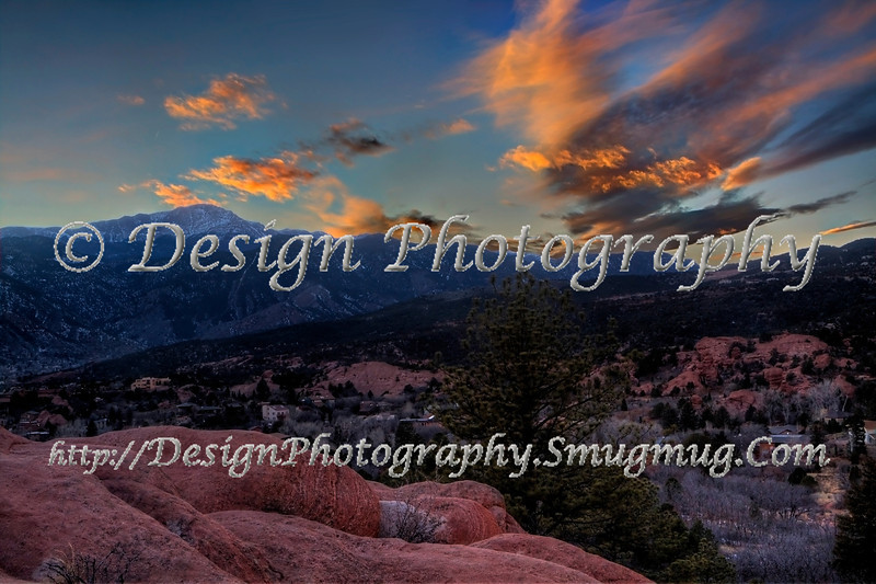 Pikes Peak and Garden of the Gods at Sunset, Colorado Springs, Colorado