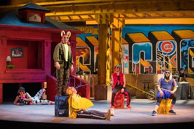 Go,Dog,Go! story by P.D. Eastmanadapted by Allison Gregory and Steven Dietz scenic design by Courtney O'Neill, costume design by Lisa Howaniec, lighting design by Kyle Cunningham, sound design by Camille Denholm, technical direction by Tessa Keller, dram