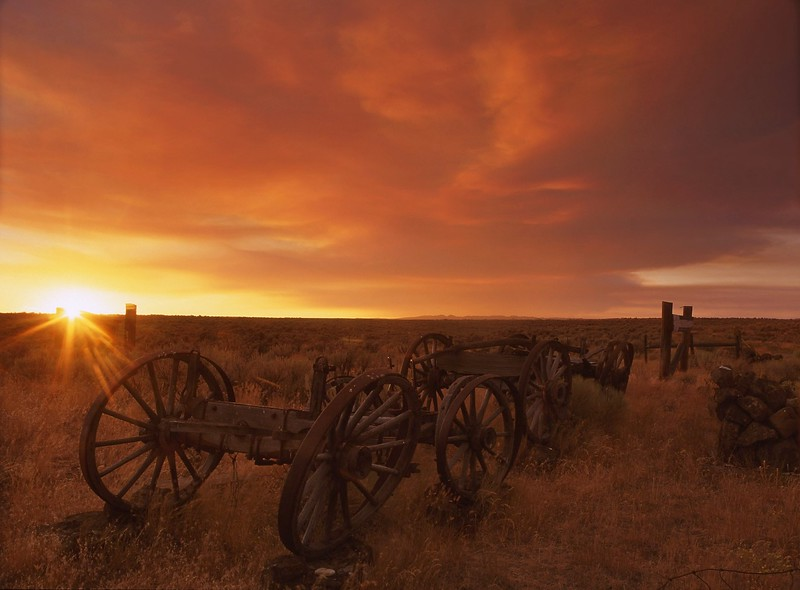 """""""Oregon Trail""""<br /> <br /> Southern Idaho.  Sunset is the product of a 40,000+ acre brush fire.  Fantastic sunset."""