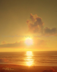 Lovely sunset along the beach in Newport Oregon.