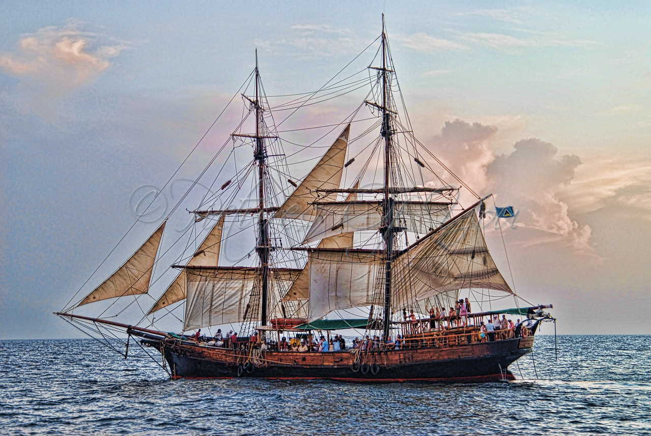 "A ""Pirate Ship"" sunset cruise tour in St. Lucia."