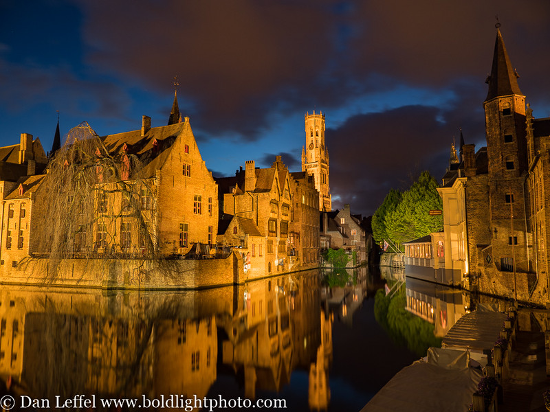Bruges Belgium Canal at Night