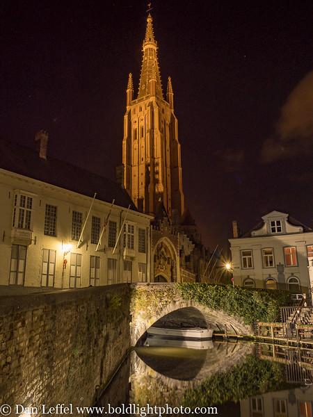 Bruges Belgium Canal at Night