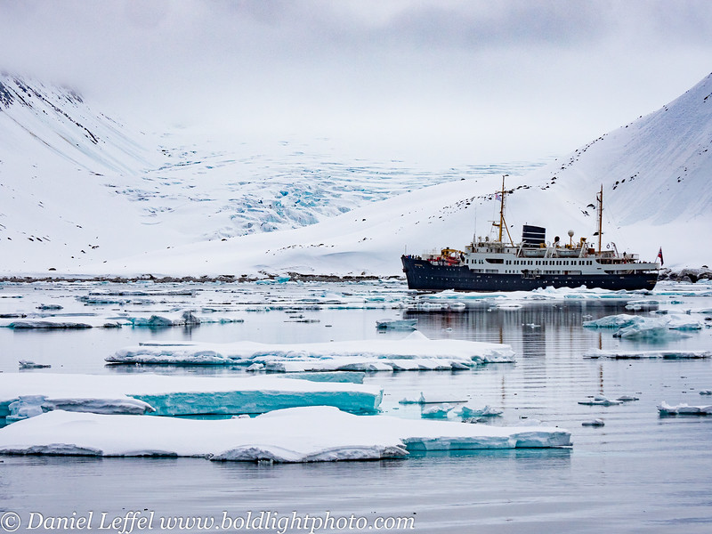 Svalbard Norway Glacier and Ship
