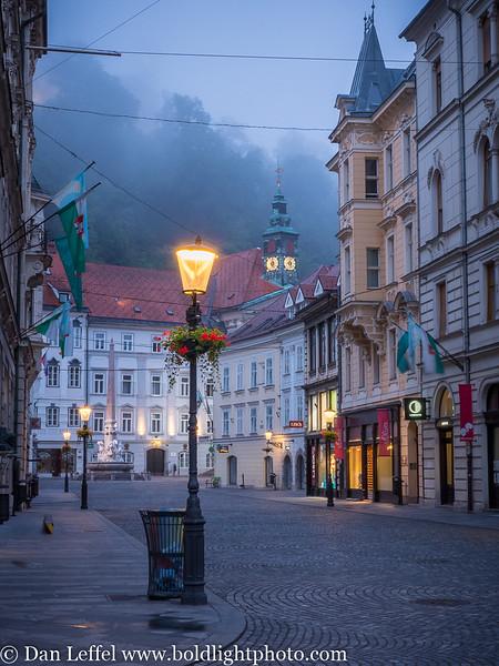 Slovenia Ljubljana Street Scene Fog
