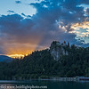 Slovenia Lake Bled Castle Sunset