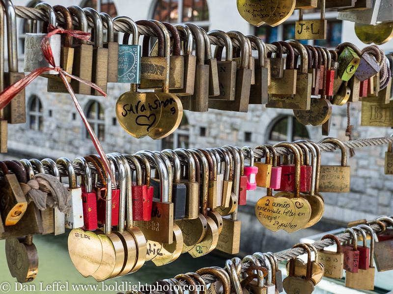Slovenia Ljubljana Love Lock Bridge Detail