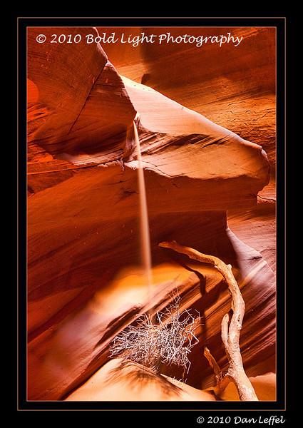 Sandfall; Upper Antelope Slot Canyon on Navajo Land, outside of Page, AZ