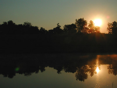 Sunrise and forest reflected in the water of a farm pond in the Kentucky Bluegrass near Lexington