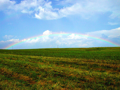 Beautiful full rainbow in the clearing skies over a rolling meadow in the Kentucky Bluegrass