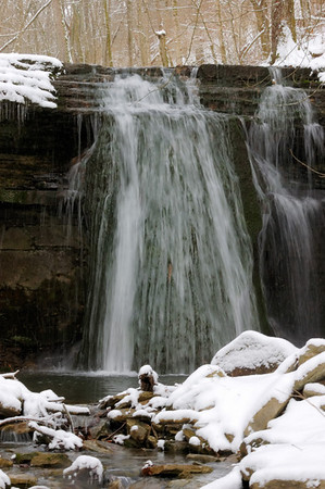 Lower Howard's Creek Nature and Heritage Preserve in Kentucky on a snowy day in early March