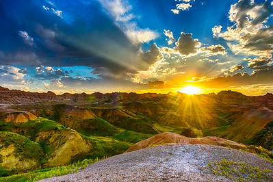 Sunset over Badlands NP Yellow Mounds Overlook