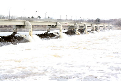 Coon Rapids Dam, during spring high water, April 4, 2009.