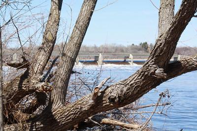 Coon Rapids Dam, during spring high water, April 4, 2009.