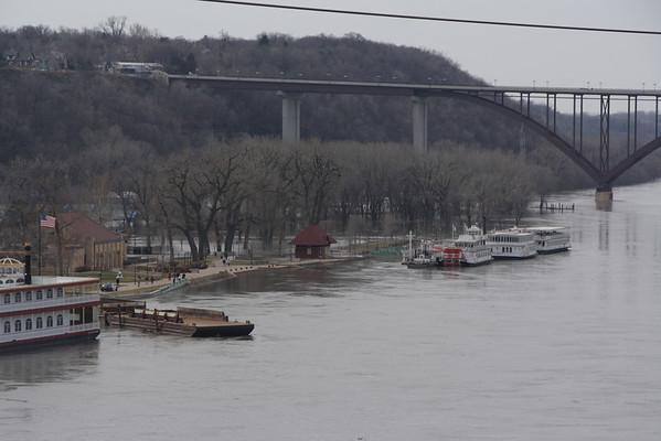 Mississippi River, St. Paul, MN, 3-22-2010 flood stage.