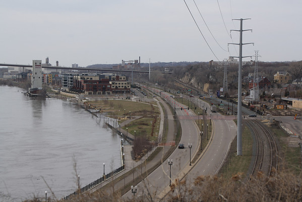 Mississippi River, St. Paul, MN, 3-22-2010 flood stage.