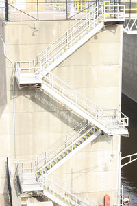 Stairs of lock and dam 10 near St. Anthony Falls, Minneapolis, Minnesota, April 4, 2009.