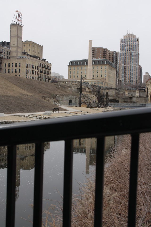 Structures in Mill Ruins Park near St. Anthony Falls, Minneapolis, Minnesota, March 27, 2010.  About 3 days after flood stage.