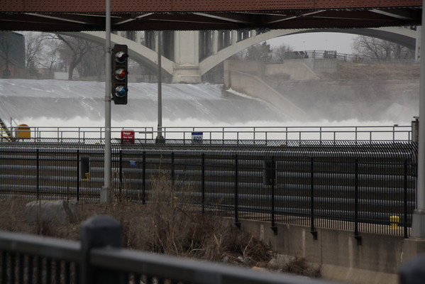 St. Anthony Falls, Minneapolis, Minnesota, March 27, 2010.  About 3 days after flood stage.