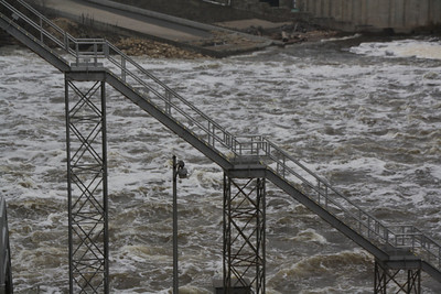 Stairs of lock and dam 10 near St. Anthony Falls, Minneapolis, Minnesota, March 27, 2010.  About 3 days after flood stage.