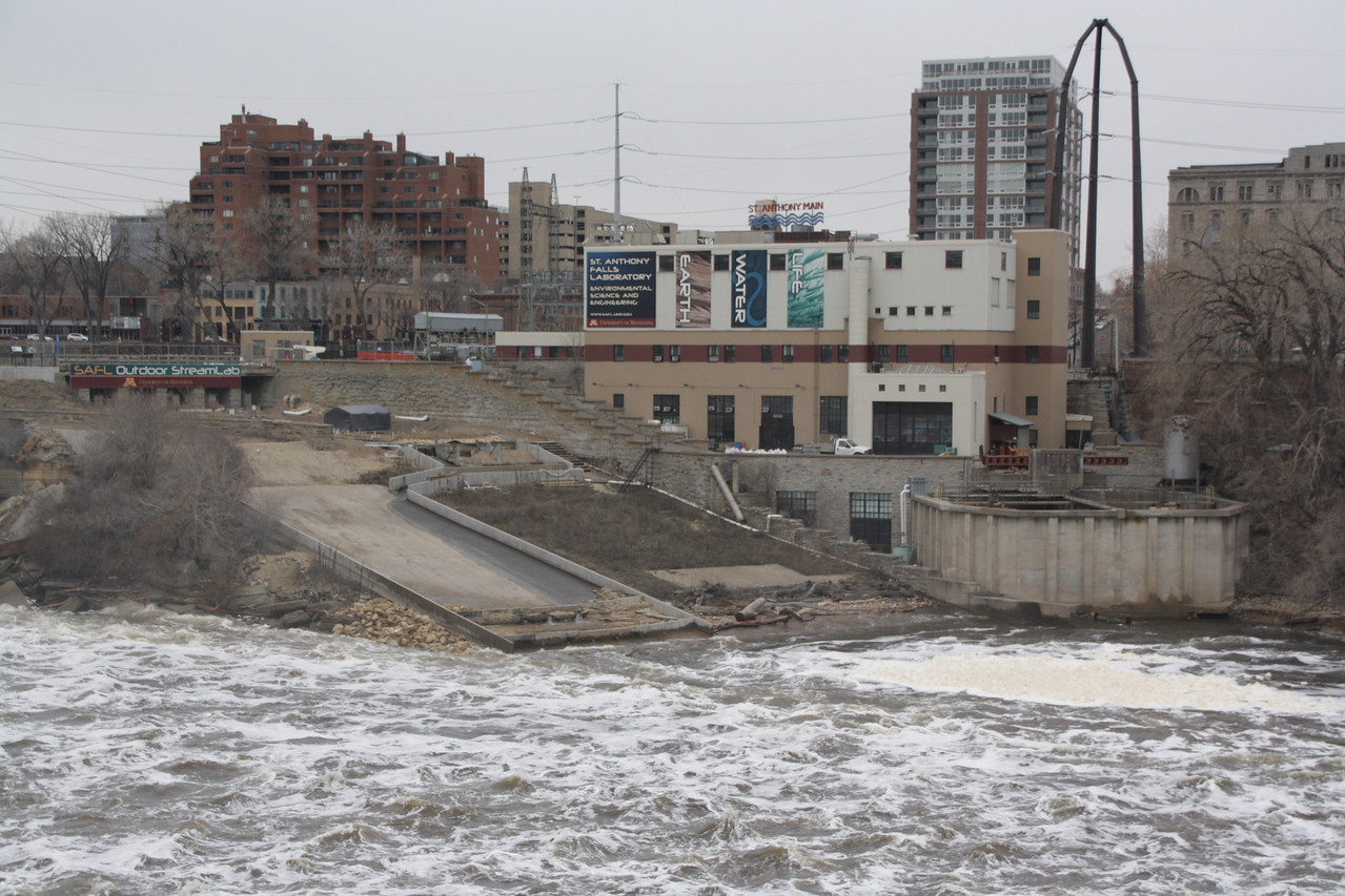 View from atop the Stone Arch Bridge near St. Anthony Falls, Minneapolis, Minnesota, March 27, 2010.  About 3 days after flood stage.