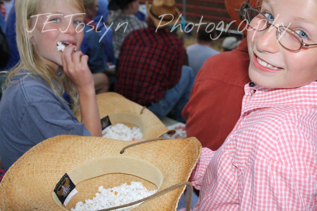 Hamel Rodeo - July 2009, GD2 and GD1 found hats make nice popcorn bowls.