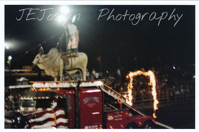 """Hamel Rodeo.  Hamel, Minneosta, 2007.  Famous rodeo clown Rodney Gaston, as """"Shotgun""""and his Brama Bull, also has a serious side -- """"Doc Holliday"""". Maybe this video will work for you  http://blog.usrodeosupply.com/2007/05/shotgun_rodney_.html"""