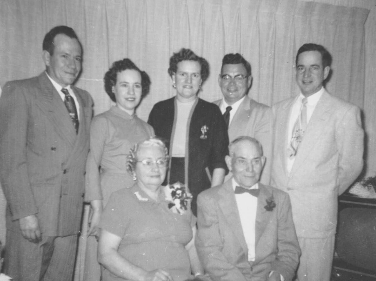 Byron, Ruth, Lorna, Russell, and Allen, with Grandma Mary Jane Dodds Killmer and Lou Henry Killmer/  25th wedding anniversary, November 24,1940.    Photo  says 1956, probably a reprint date, as Wedding was 11-24-1915.